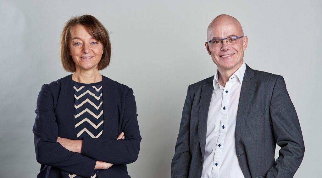 Susanne Lauber Fürst, présidente du parti Montreux Libre et Jean-Marc Fridez, président du parti Le Centre Montreux